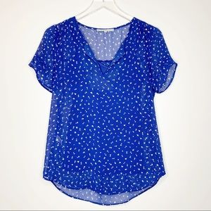 Daniel Rainn StitchFix Blue Hearts Sheer Blouse XS